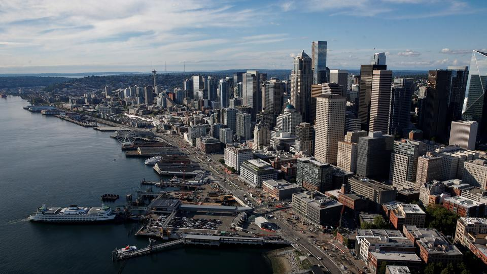 Downtown Seattle is seen in this aerial photo taken over Seattle Washington, US.