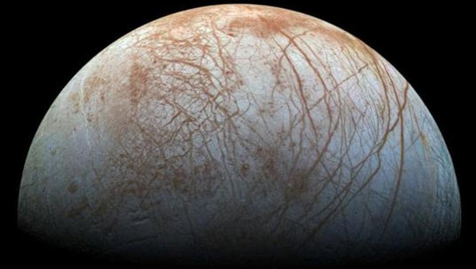 File photo of a view of Jupiter's moon Europa created from images taken by NASA's Galileo spacecraft in the late 1990s.