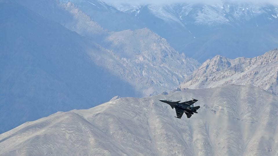 India-China border dispute: A fully loaded MiG 29 fighter during a combat air patrol of Ladakh skies