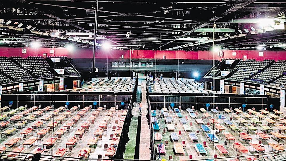 The Covid-19 facility at the National Sports Complex of India (NSCI) dome in Worli has 518 isolation beds and 10 ICUbeds.