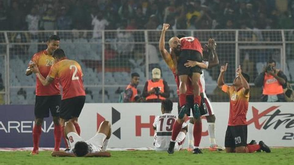 East Bengal celebrates 3-2 victory over Mohun Bagan at the I-League match, at Salt Lake stadium.