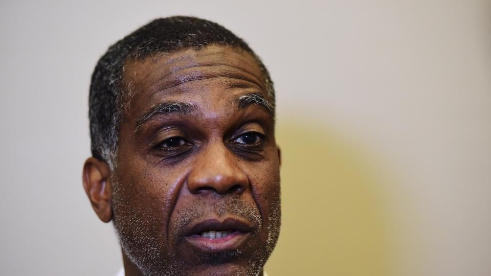 SHANGHAI, CHINA - APRIL 15: Former West Indies Cricketer Michael Holding during a media interview at the Shanghai Grand Theatre prior to the 2015 Laureus World Sports Awards on April 15, 2015 in Shanghai, China. (Photo by Jamie McDonald/Getty Images for Laureus)