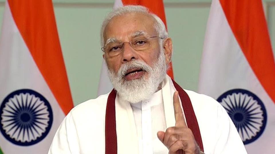 Prime Minister Narendra Modi addresses during the 90th birthday celebrations of the Rev. Dr. Joseph Mar Thoma Metropolitan via video conferencing, in New Delhi on Saturday. (ANI Photo)