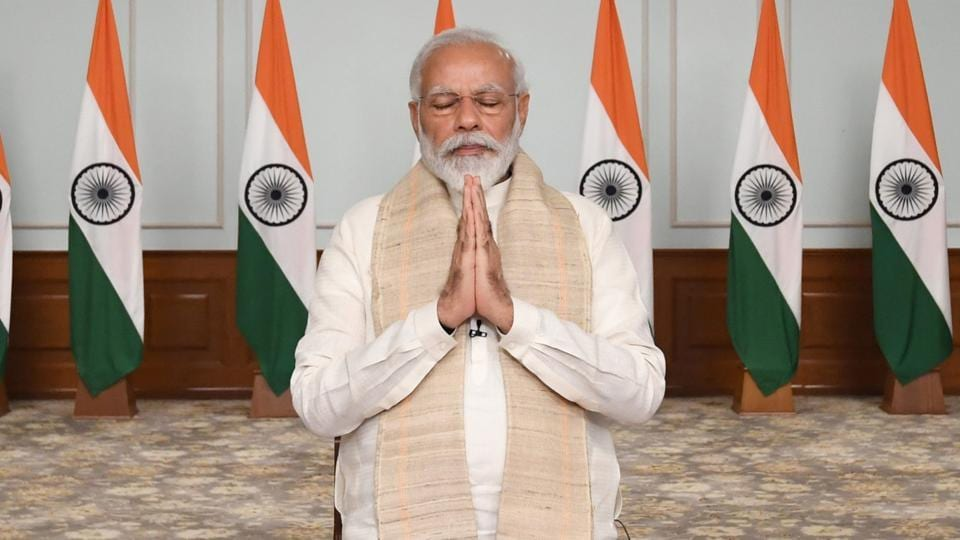 Prime Minister Narendra Modi pays tributes to Indian soldiers killed during confrontation with Chinese soldiers in the Ladakh region during a video conference with chief ministers on June 17, 2020.