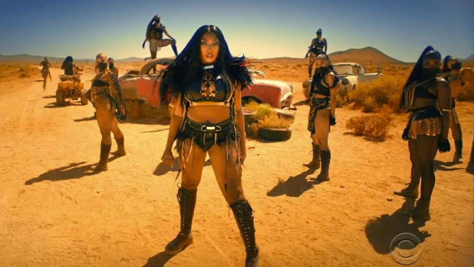 In this video grab issued Sunday, June 28, 2020, by BET, Megan Thee Stallion, center, performs during the BET Awards.