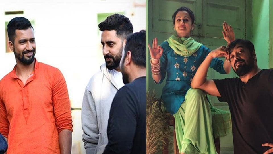 Vicky Kaushal, Abhishek Bachchan, Taapsee Pannu and Anurag Kashyap on sets of Manmarziyaan.