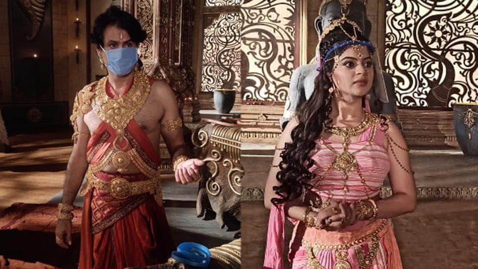 Jiten Lalwani and Sneha Wagh on sets of Kahat Hanuman Jai Shri Ram.