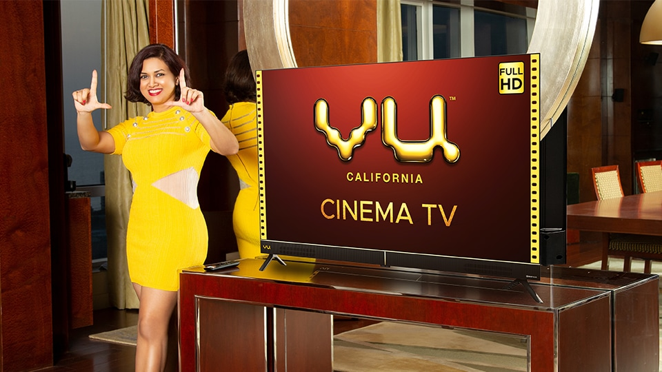 Chairman and CEO of Vu Televisions, Devita Saraf at the launch of Vu Cinema TV