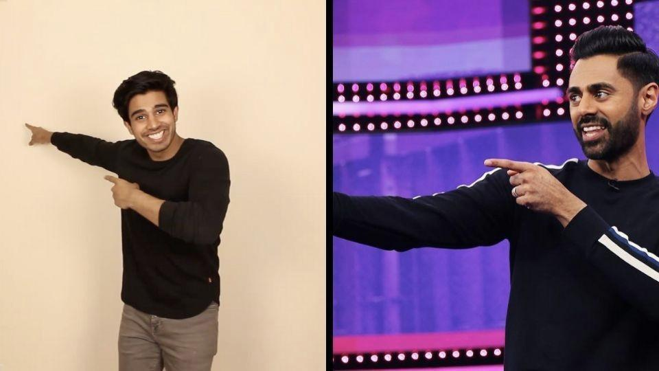 The image shows Saiyam Kumar and Hasan Minhaj.