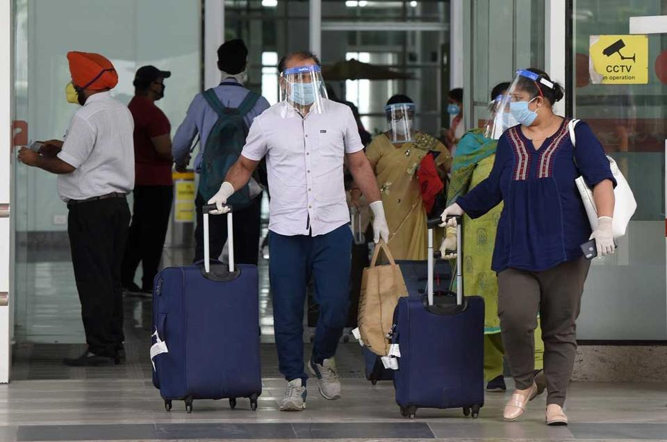Passengers who came in a special flight from New Zealand on Monday at Chandigarh International Airport .
