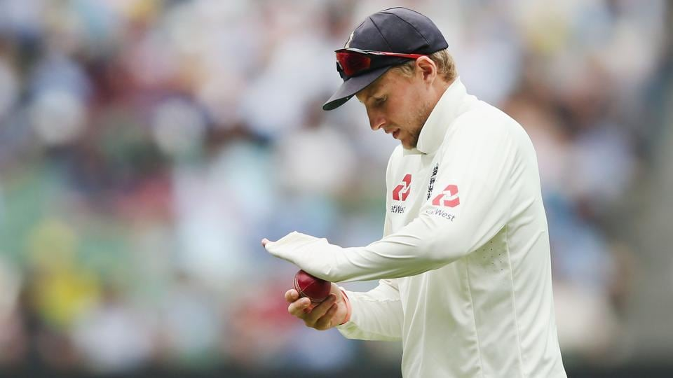 Joe Root shines the ball with his sleeve during day four of the Fourth Test Match.