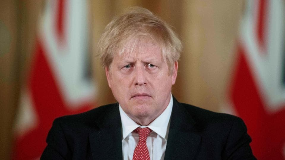 British Prime Minister Boris Johnson attends a news conference on the ongoing situation with the coronavirus disease in London, Britain.