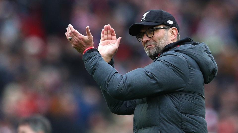 Jurgen Klopp, Manager of Liverpool celebrates following his sides victory in the Premier League.