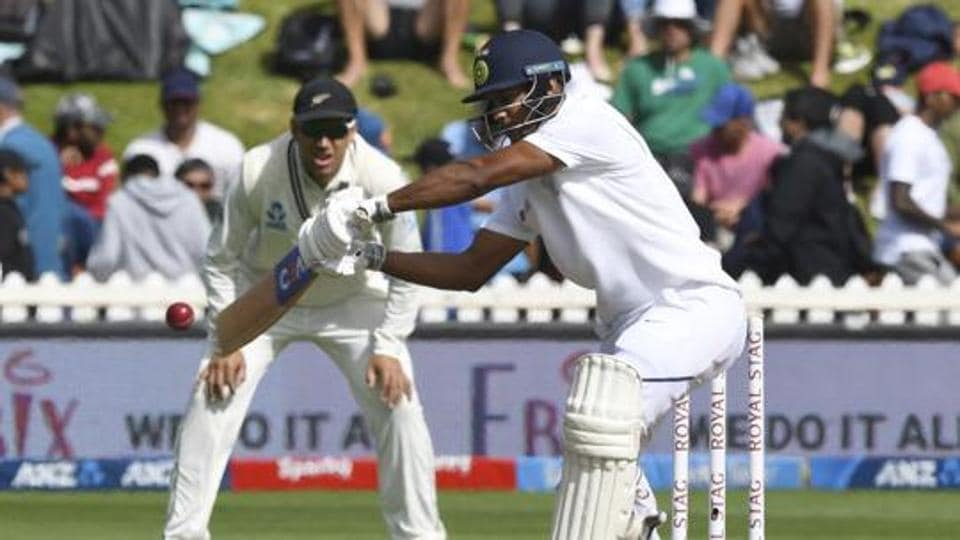 India's Mayank Agarwal bats against New Zealand during the first cricket test between India and New Zealand at the Basin Reserve in Wellington, New Zealand, Sunday.