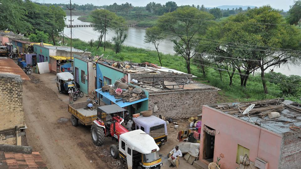 An aerial view of the residential colony on the bank of river Krishna. at Vishnu ghat, Sangli.