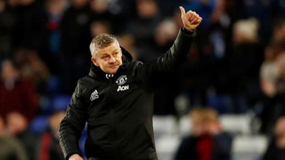 Manchester United manager Ole Gunnar Solskjaer celebrates after the match.