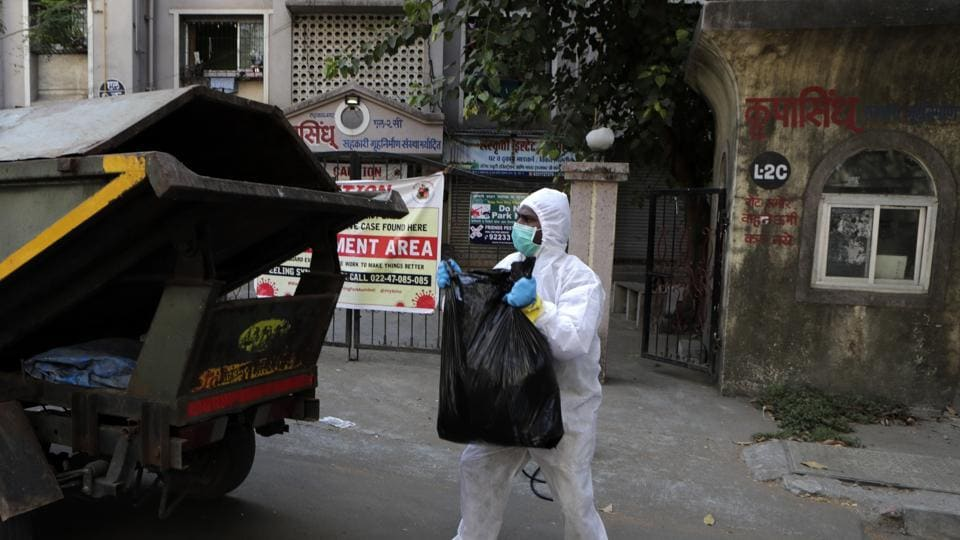 Noida generates 25 kg waste daily that consists of used masks, gloves and PPE kits. A private agency was tasked with collecting the waste in black dustbins placed in vehicles that go door-to-door.