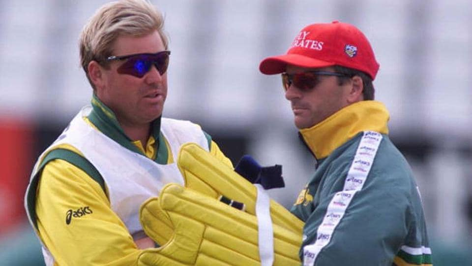 Shane Warne and Steve Waugh during the 1999 World Cup.