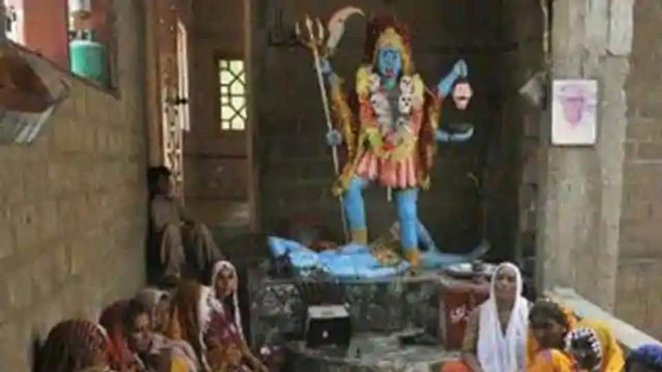 A file photo of Pakistani Hindus at The Shang Bhavan Temple in Maklei, in Thatta district, Pakistan.