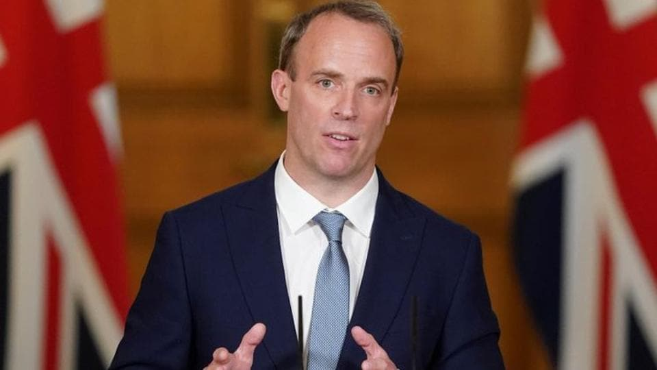 Britain's Foreign Secretary Dominic Raab speaks during a  digital press conference in London.