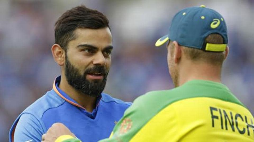 Virat Kohli of India shakes hands with Aaron Finch of Australia at the end of the Group Stage match of the ICC Cricket World Cup 2019 between India and Australia at The Oval on June 9, 2019 in London, England.