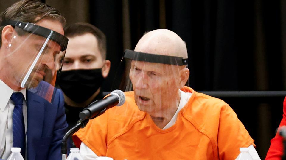 Former police officer Joseph James DeAngelo Jr. speaks during a hearing on crimes attributed to the Golden State Killer at the Sacramento County courtroom, in Sacramento, California, US.