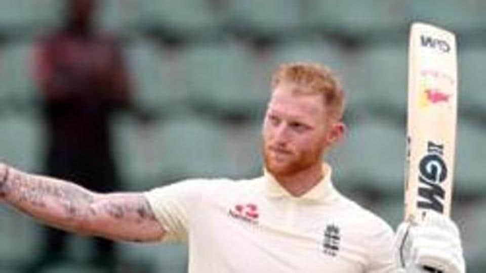 England's Ben Stokes celebrates his century.