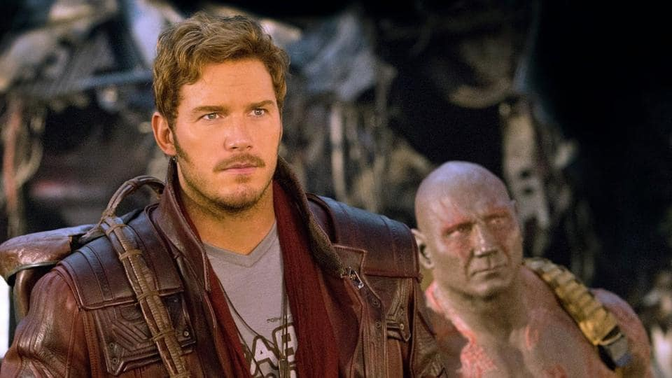 Chris Pratt and Dave Bautista in Guardians of the Galaxy.