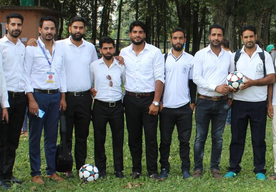 The sports teachers, who were recruited under the Rehbar-e-Khel scheme, during the Jammu and Kashmir Under-17 Inter-District School Football tournament held at Baramula last year.