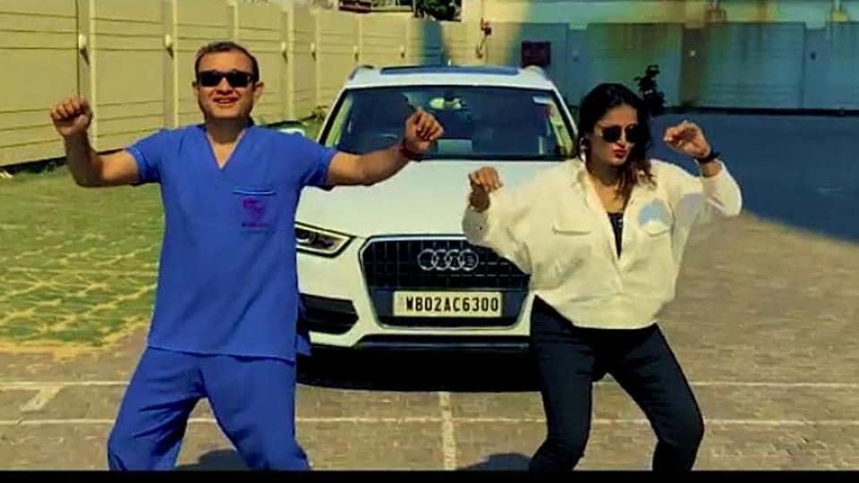 A still from the new video by a group of doctors, who can be seen dancing on Can't Stop The Feeling! by Justin Timberlake.