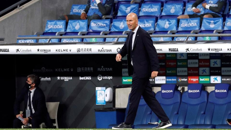 Real Madrid coach Zinedine Zidane before the match, as play resumes behind closed doors.