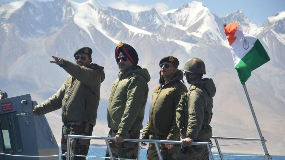 Lt Gen YK Joshi, GOC Ladakh 14 Corps, along with then Northern Army commander Lt Gen Ranbir Singh on a boat patrol in Ladakh's Pangong Tso lake in September 2019