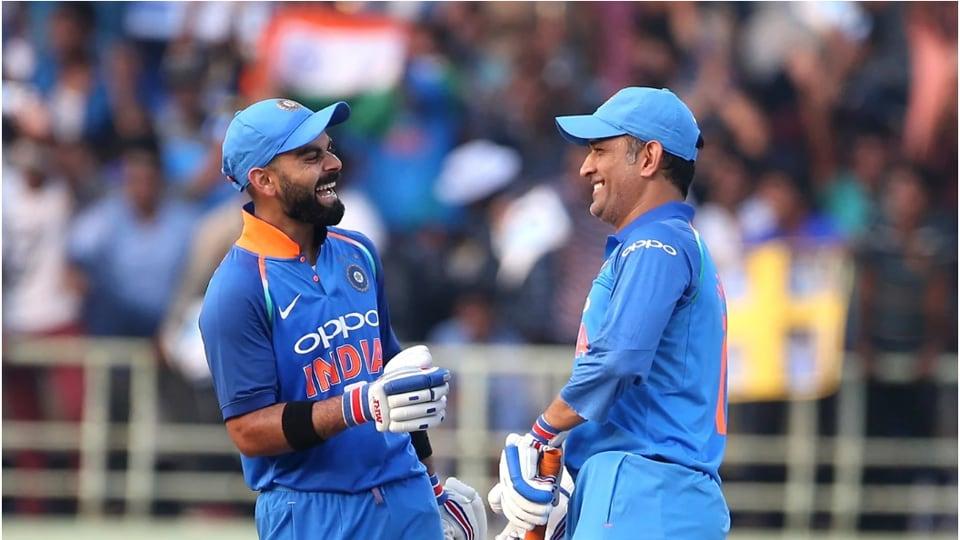India captain Virat Kohli with MSDhoni.