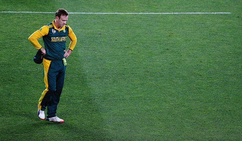 A dejected AB de Villiers after New Zealand beat South Africa in the 2015 World Cup semifinal.