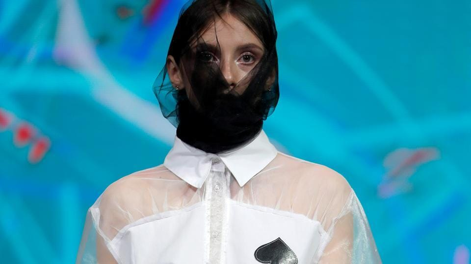 A model presents a creation Game by Belarusian designer Diana Kozharnovich during a show at the festival and contest Fashion Mill, amid the coronavirus disease (COVID-19) outbreak, in Minsk, Belarus June 30, 2020.  (Retuers/Vasily Fedosenko)