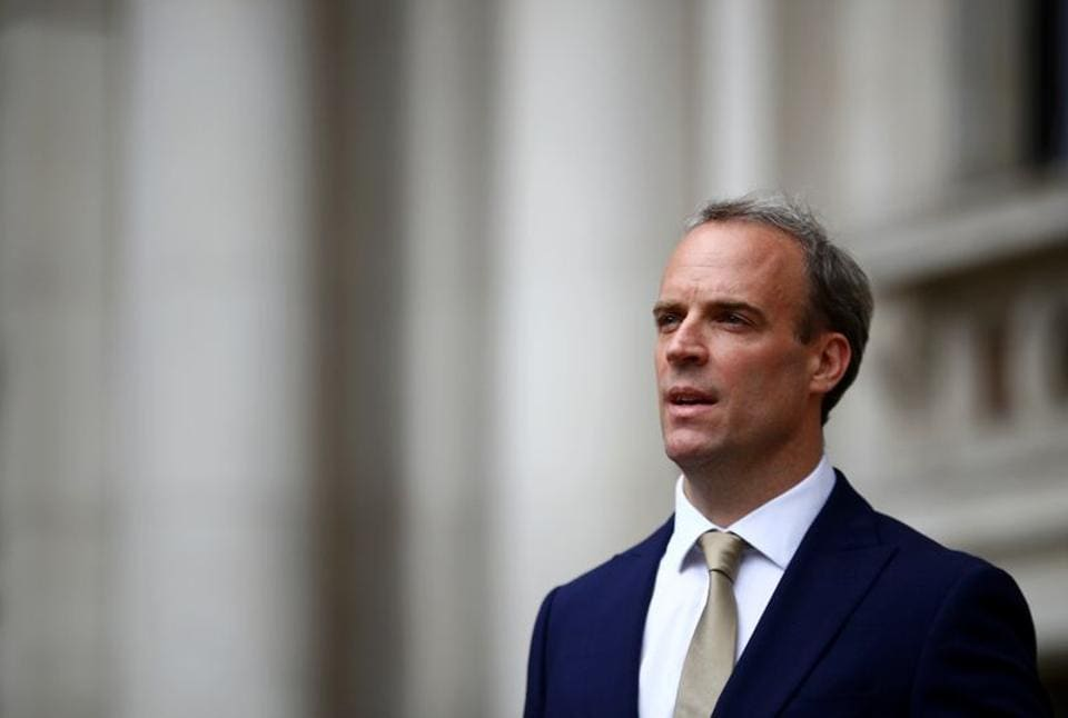 Britain's Foreign Secretary Dominic Raab makes a statement on Hong Kong's national security legislation in London, Britain, July 1, 2020.