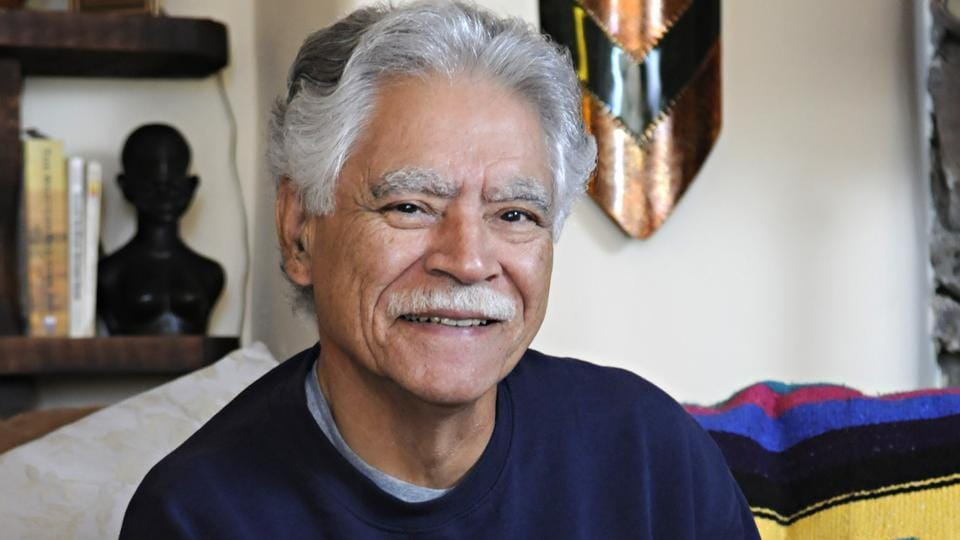In this April 28, 2011, file photo, author Rudolfo Anaya poses for a photo at home in Albuquerque, N.M. Anaya, 82, who helped launch the 1970s Chicano Literature Movement with his novel Bless Me, Ultima, died Sunday, June 28, 2020.