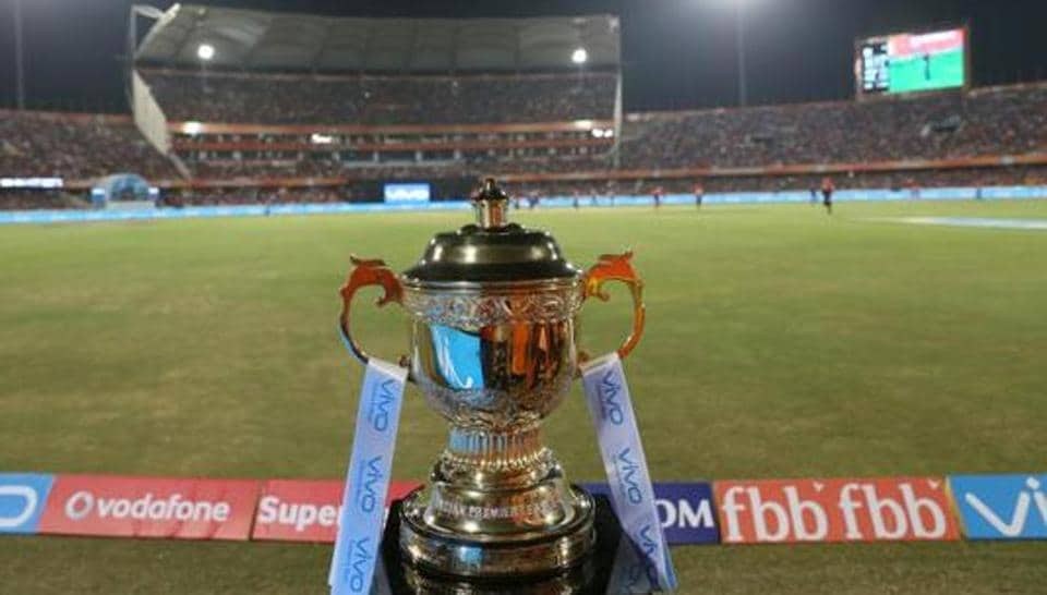VIVO IPL 2017 trophy during match 1 of the Vivo 2017 Indian Premier League between the Sunrisers Hyderabad and the Royal Challengers Bangalore held at the Rajiv Gandhi stadium in Hyderabad, India on the 5th April 2017