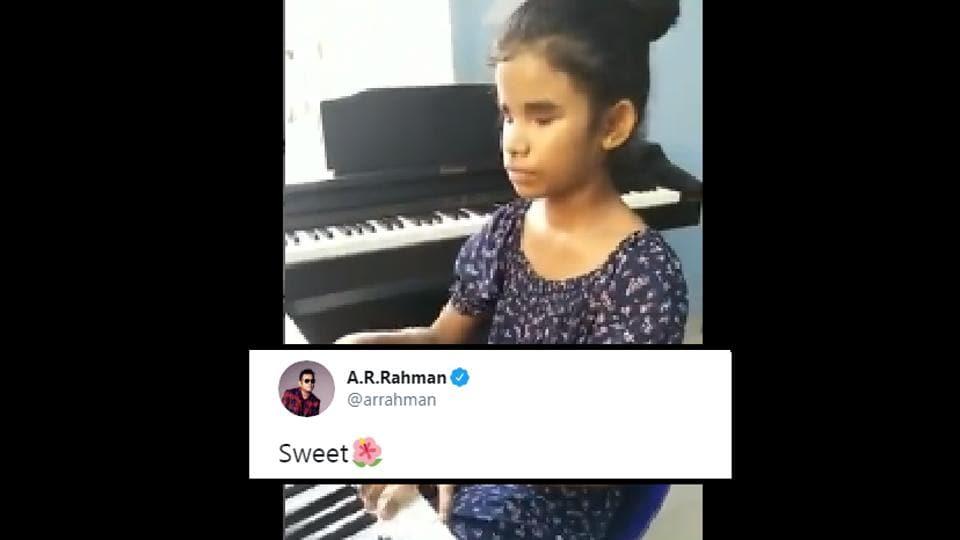 AR Rahman retweeted Sahana's piano rendition of his creation.