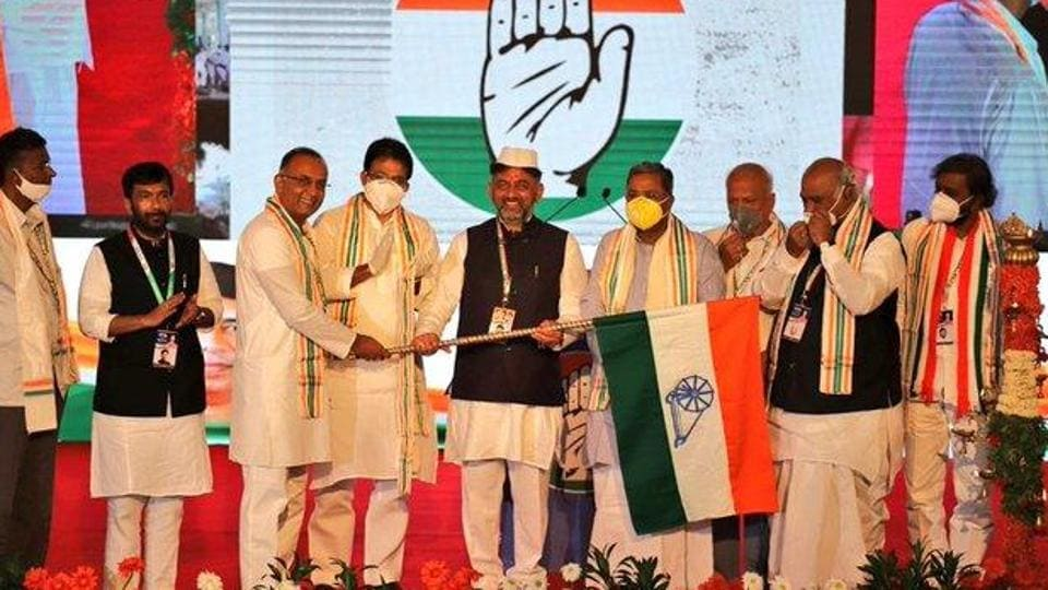 """Addressing party workers as their state president for the first time, DK Shivakumar said: """"Joining together is the beginning, thinking together is progress, working together is success."""" (Photo @INCKarnataka)"""