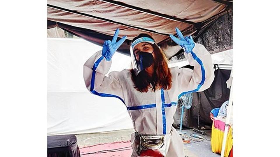 Stylist Aastha Sharma in a PPE kit