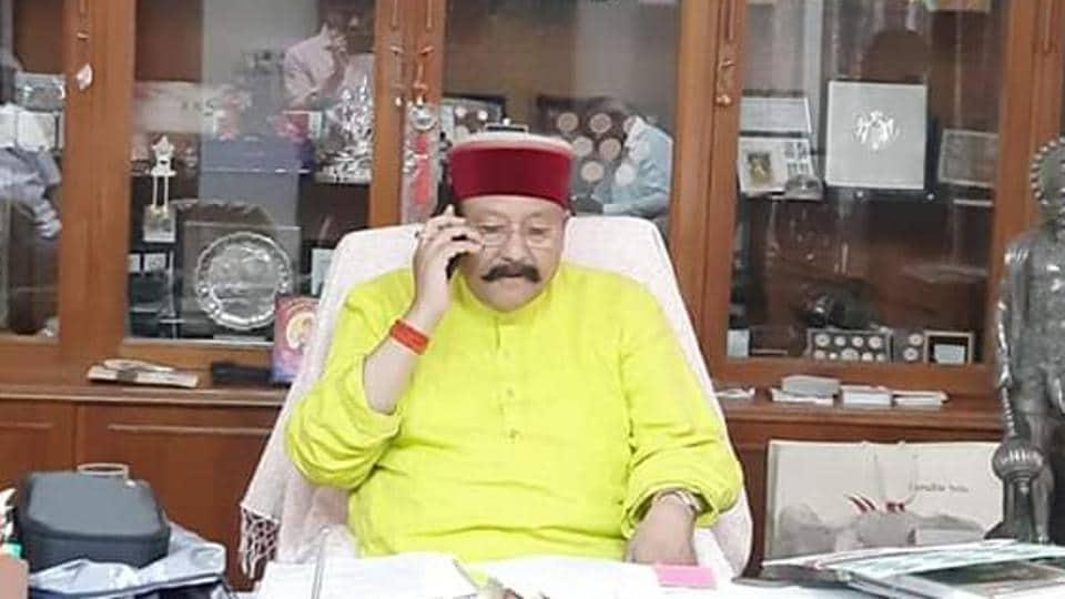 Uttarakhand tourism minister Satpal Maharaj in his office.