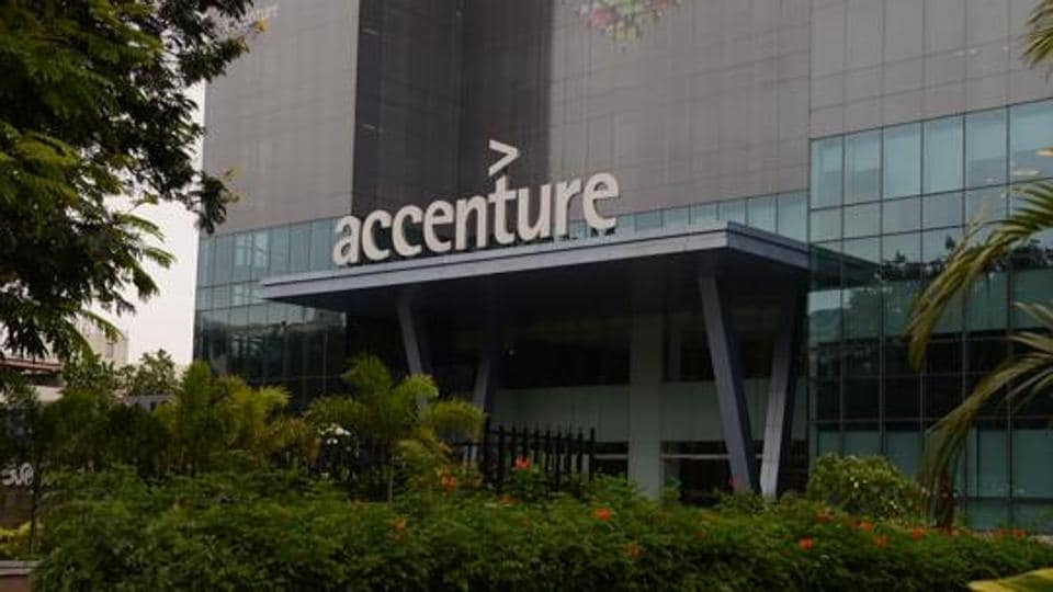 Accenture office in Bengaluru, India. The company's UK arm is cutting up to 900  jobs due to slump in  demand.