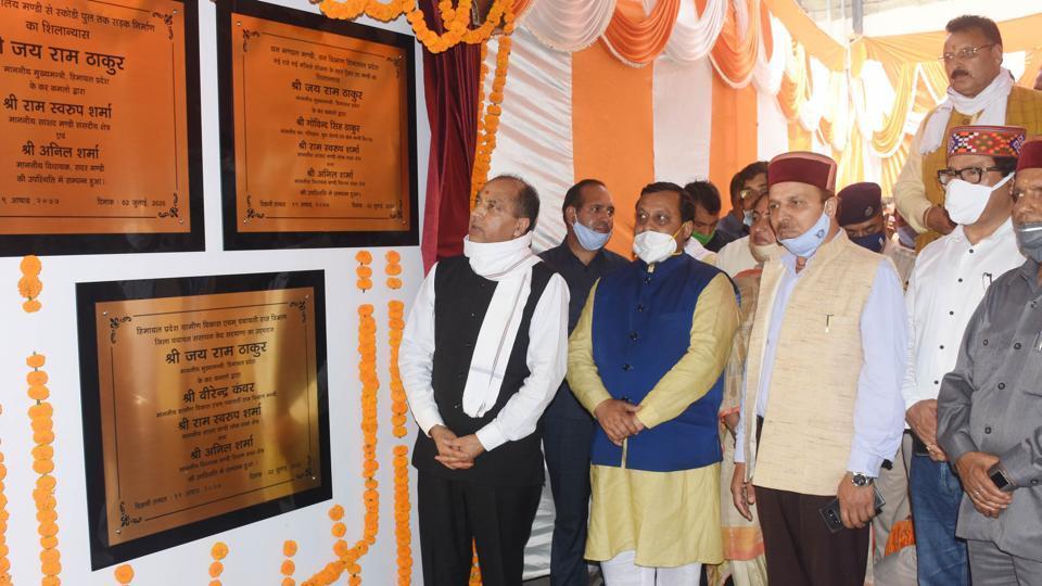 Himachal Pradesh chief minister Jai Ram Thakur inaugurating development projects in Mandi on Thursday