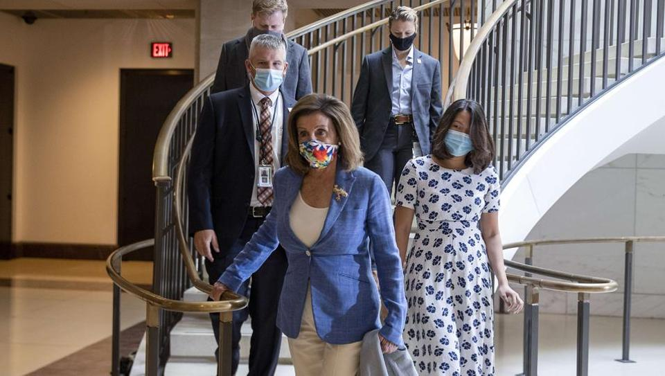 Speaker of the House Nancy Pelosi (D-CA) arrives for a closed door briefing at the US Capitol on July 2, 2020 in Washington, DC.