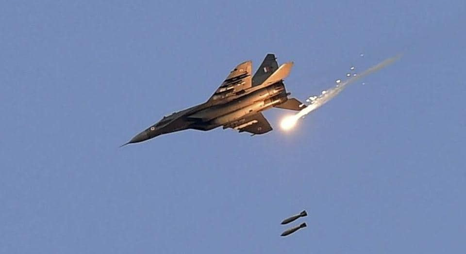 An Indian Air Force (IAF) MIG 29 releases bombs during an IAF exercise
