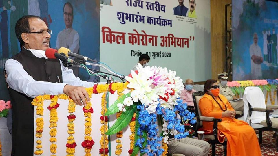Madhya Pradesh chief minister Shivraj Singh Chouhan during the launch of statewide 'Kill Corona' campaign in Bhopal on Wednesday.