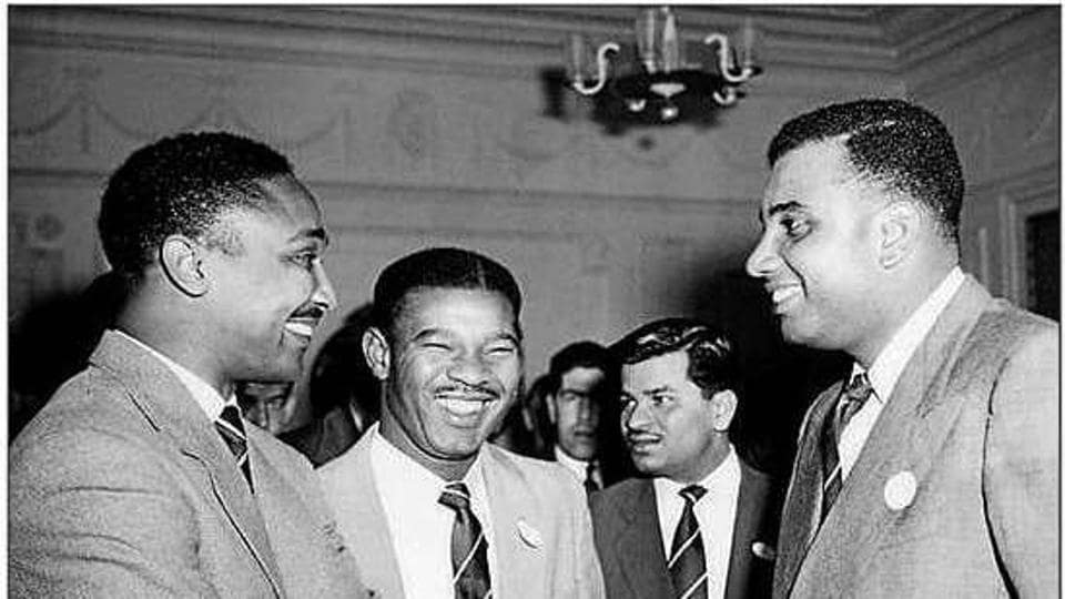 The '3 Ws' of West Indies cricket at the West Indian Club, London, on April 15, 1957. From left: Frank Worrell (1924 - 1967), Everton Weekes (1925-2020) and Clyde Walcott (1926 - 2006).