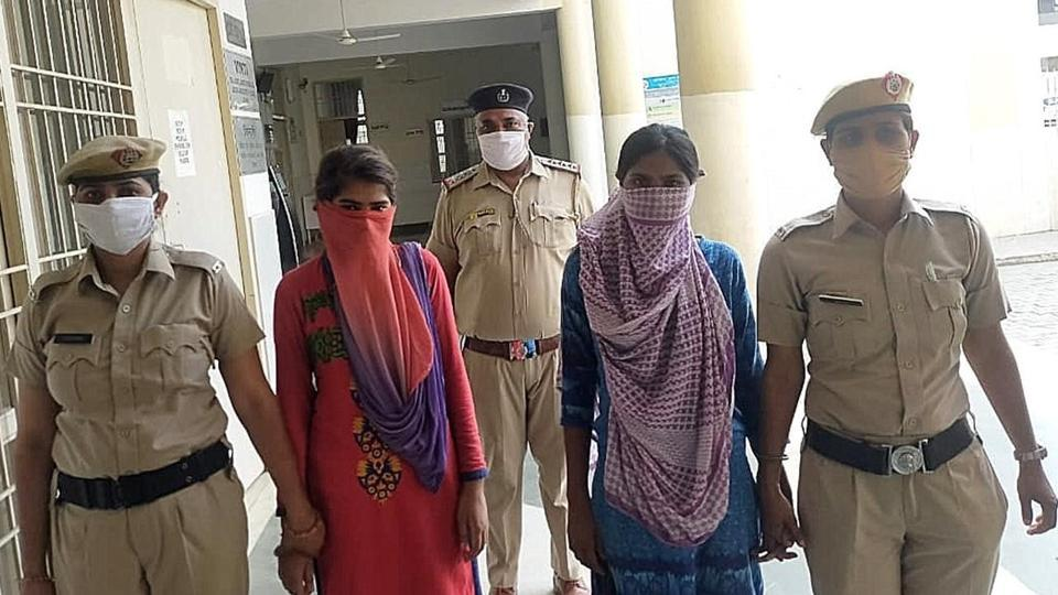 The accused outside a local court in Sonepat on Friday.