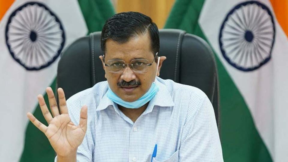 Delhi Chief Minister Arvind Kejriwal briefs the media during a digital press conference on July 2. During his address a day before, Kejriwal said that the recovery rate is also on the rise--a month ago, the recovery rate was 38%, and it has now increased to 64%. (HT Photo)
